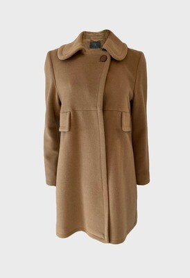 CASHMERE COAT INVERTED PLEAT IN CAMEL