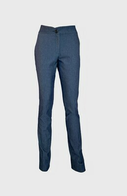 HIGH-WAISTED CIGARETTE TROUSERS IN DENIM BLUE