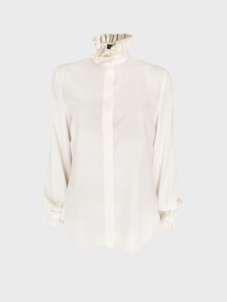 RUFFLE SILK BLOUSE IN CHAMPENOISE