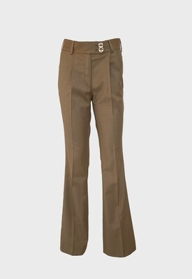 FLARED TROUSERS IN CAMEL