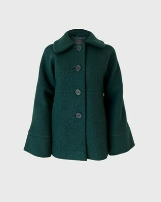 A-LINE ROUND COLLAR WOOL COAT IN DARK GREEN