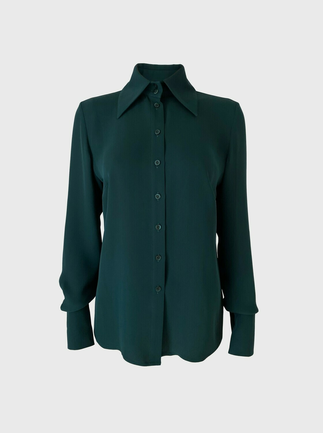 BOLD COLLAR SILK BLOUSE IN DARK GREEN