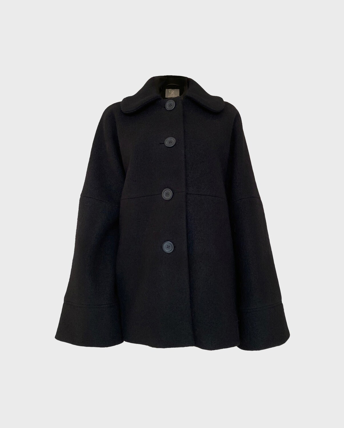 A-LINE ROUND COLLAR WOOL COAT IN BLACK