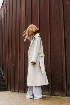 OVERSIZED COAT MIDI IN SAND