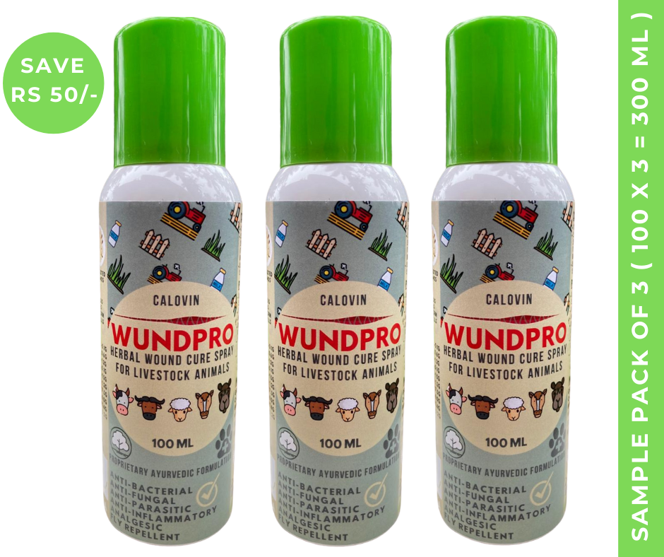 Calovin Wundpro - Herbal Topical Wound Cure Spray for Livestock & Farm Animals - 100ml (Box of 3 Sprays)