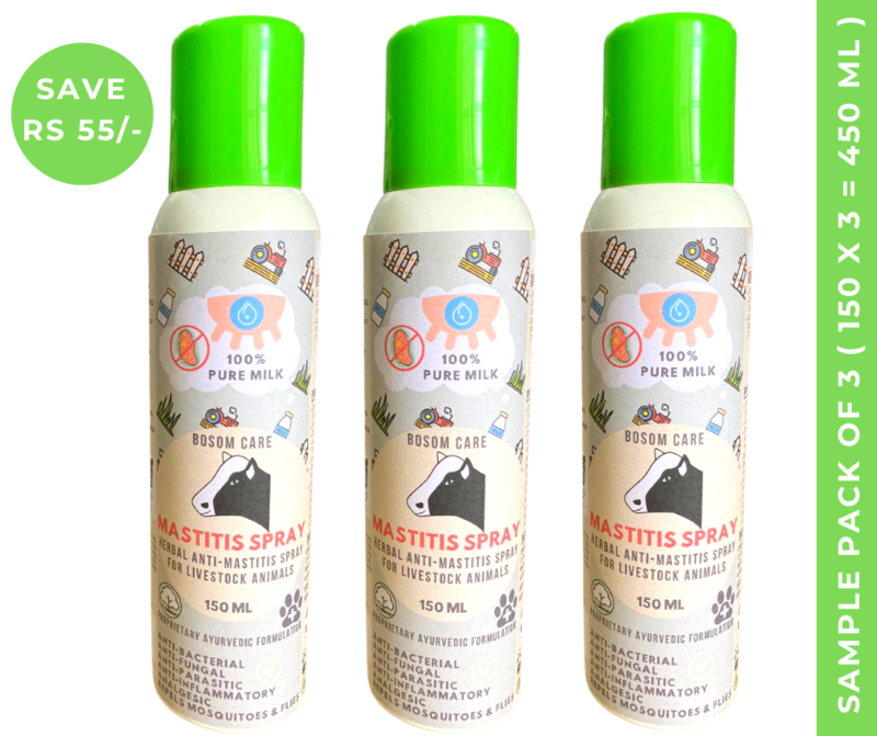 Bosomcare Mastitis Spray - Herbal Topical Anti-Mastitis Spray for Livestock & Farm Animals - 150ml (Box of 3 Sprays)