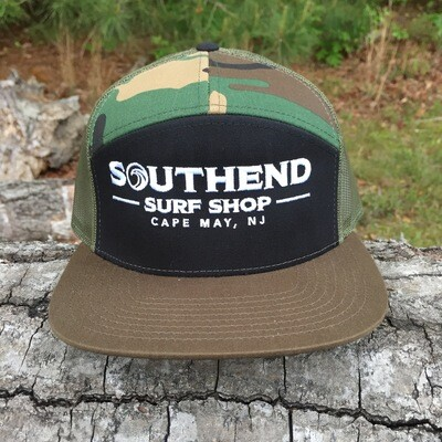 Southend Surf Shop 7-Panel Trucker - Camo and Black