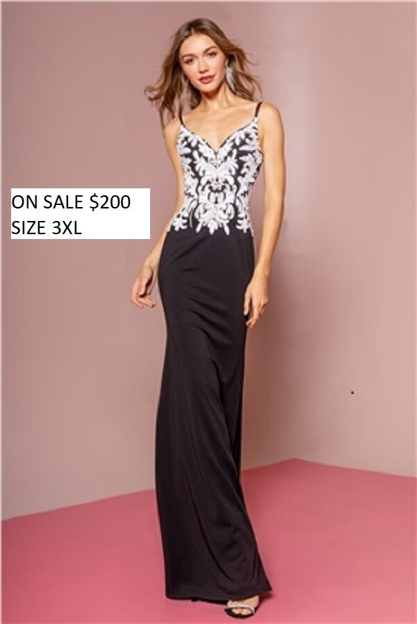 Jersey formal long Gown in color BLACK 3XL