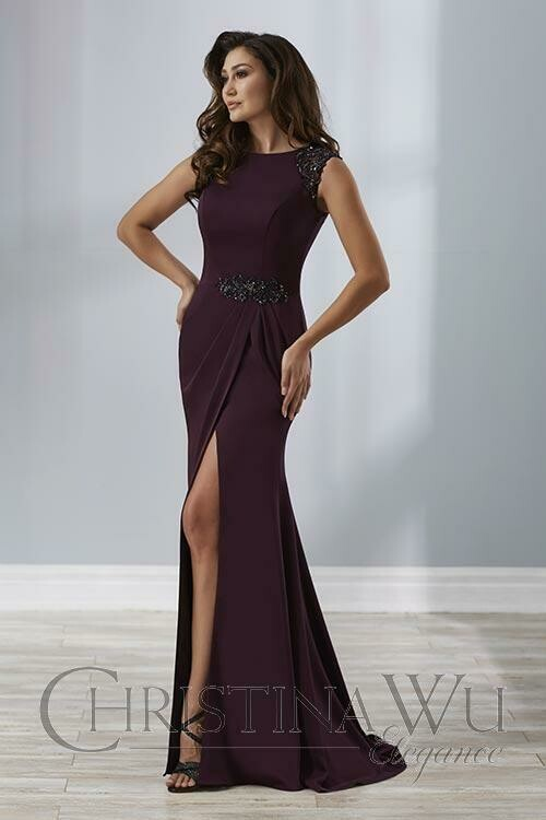 Christina Wu mother of the bride dress 17881 IN AUBERGINE size 18
