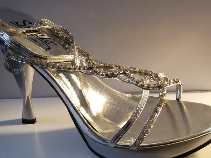 Silver High Heel Shoe size 8 MED