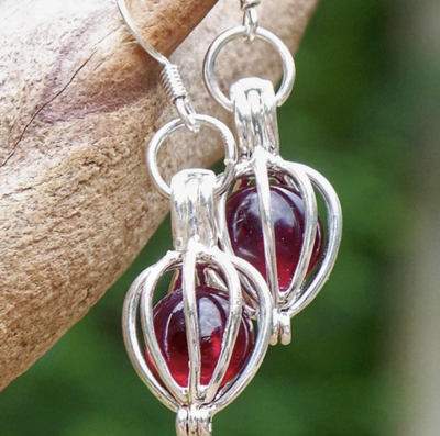 Recycled Glass Silver Drop Earrings