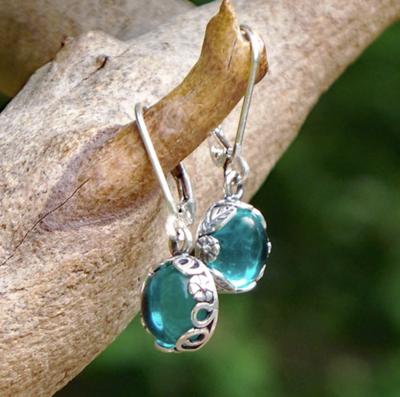 Recycled Glass Botanical Earrings