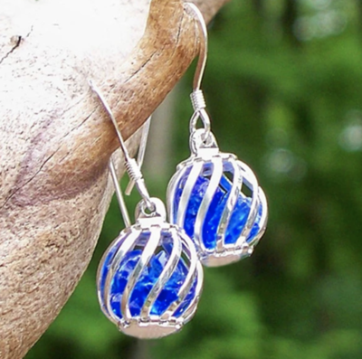 Recycled Glass Cage Earrings