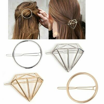 Fashion Alloy Diamond Geometric Circle Shape Hair Accessories Hairpin Word Clip Headwear Barrettes for Women Girls Simple Style