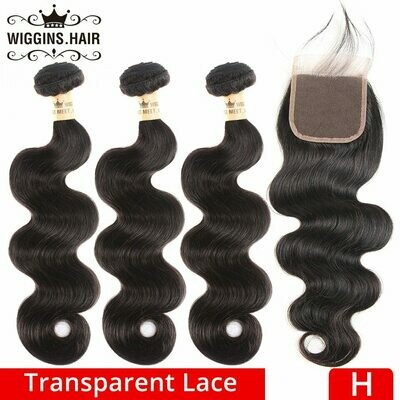 Wiggins Transparent Lace Body Wave Bundles With Closure Brazilian Human Hair 3 Bundles With 4x4 Closure Natural High Ratio Remy on AliExpress
