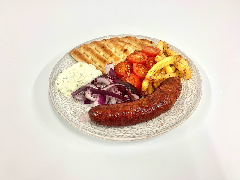 Greek Sausages with Pita