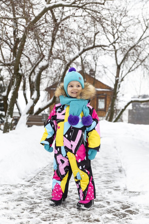 Зимний комбинезон Nika style  желтый/розовый
