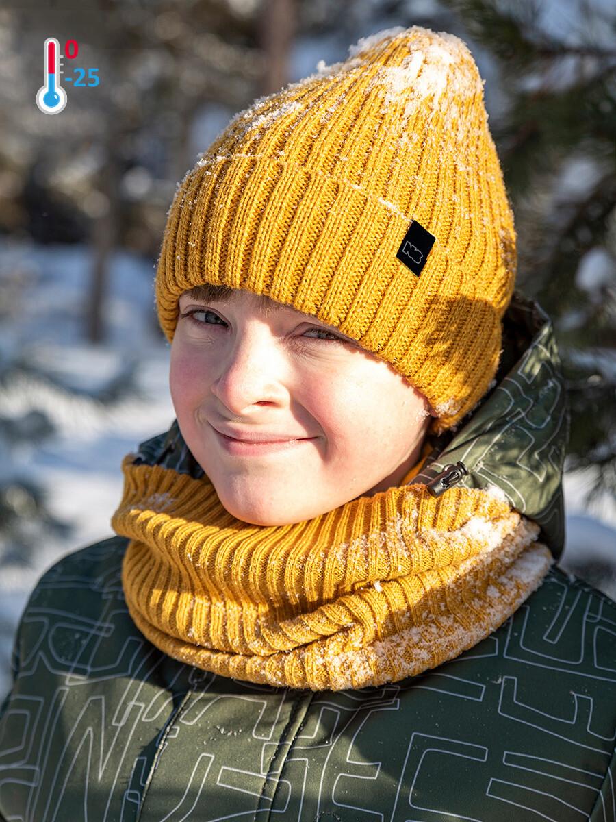Комплект шапка и снуд Nika Style горчичный
