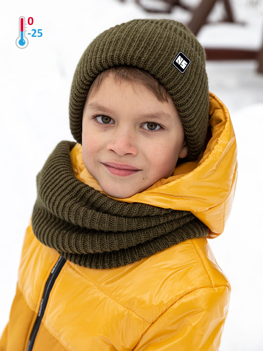 Комплект шапка и снуд Nika Style хаки