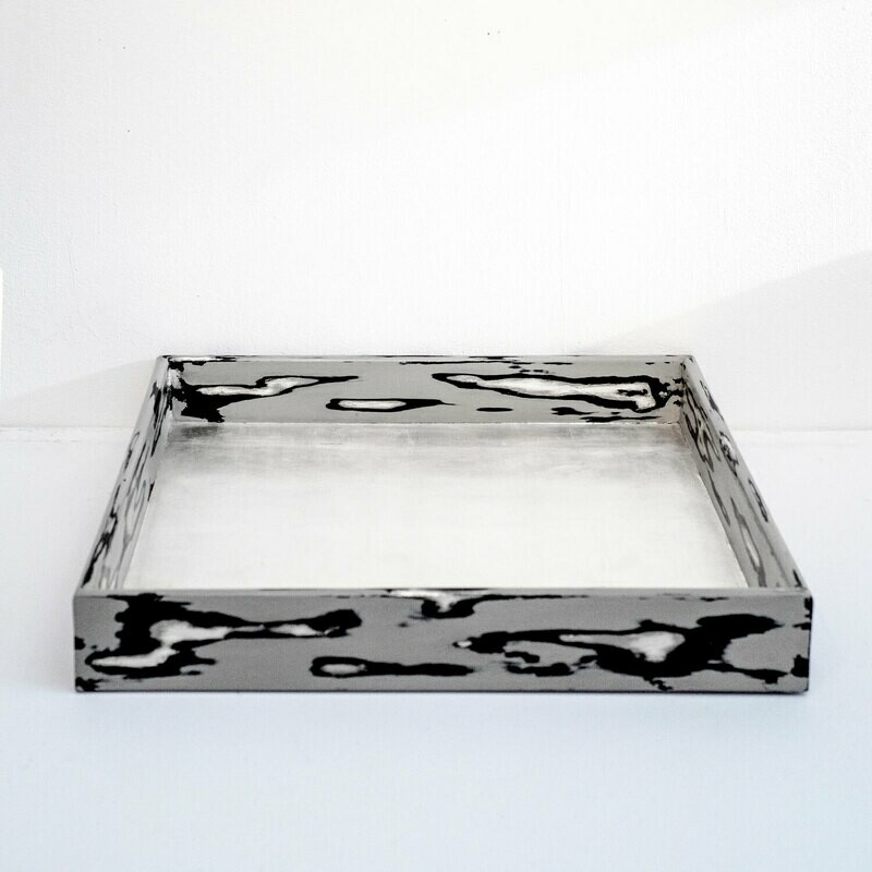 Negoro Nuri Tray with Pure Silver Leaf Center, Large
