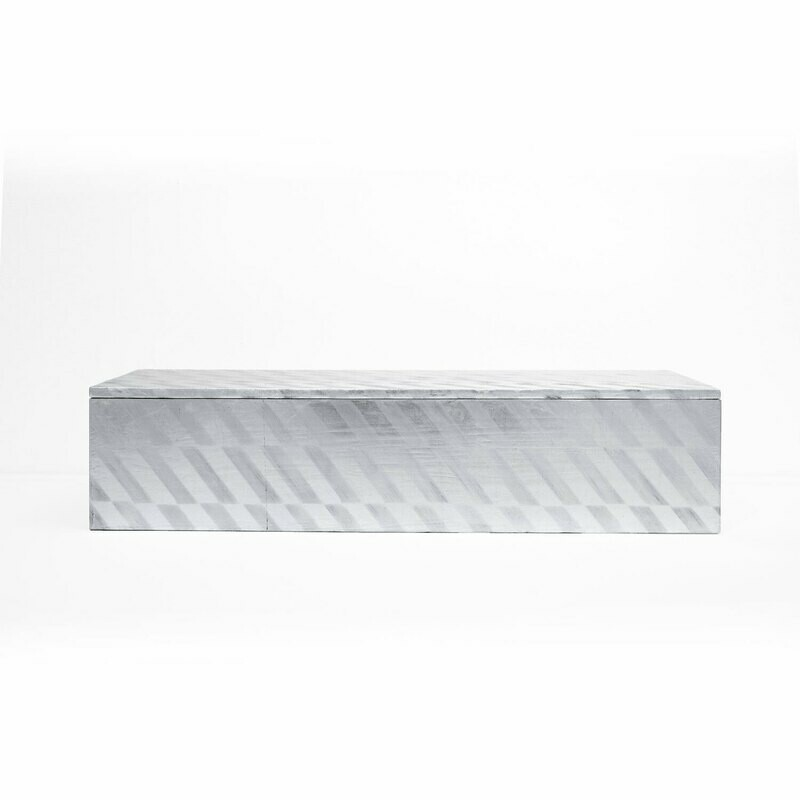 Pure Silver Leaf Box with Chevron Pattern, Large