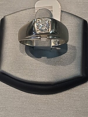 Men's Diamond Solitaire 14k White Gold