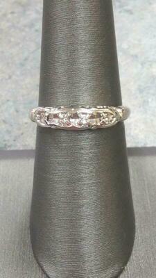 Antique Lady's Diamond Wedding Band 4 Diamonds .12 Carat T.W. 14K White Gold