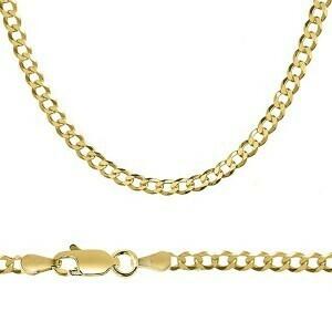 10k Gold 4mm Flat Curb Bracelet