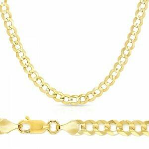 10k Gold 8mm Flat Curb Bracelet