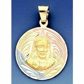 14k Tri Color Gold Medal Of Christ 34.2mm