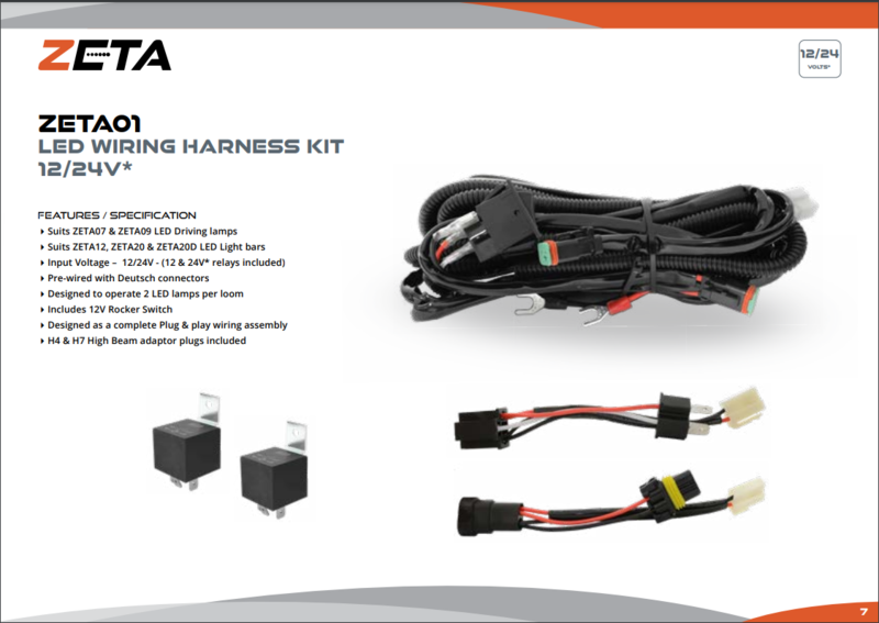 ZETA LED WIRING HARNESS KIT 12/24V