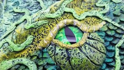 Custom Order Clay Dragon on 8x10 Canvas