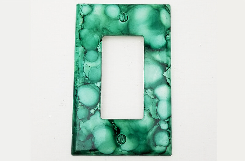 Alcohol Ink Light Switch Wall Plate Cover - Minty Green