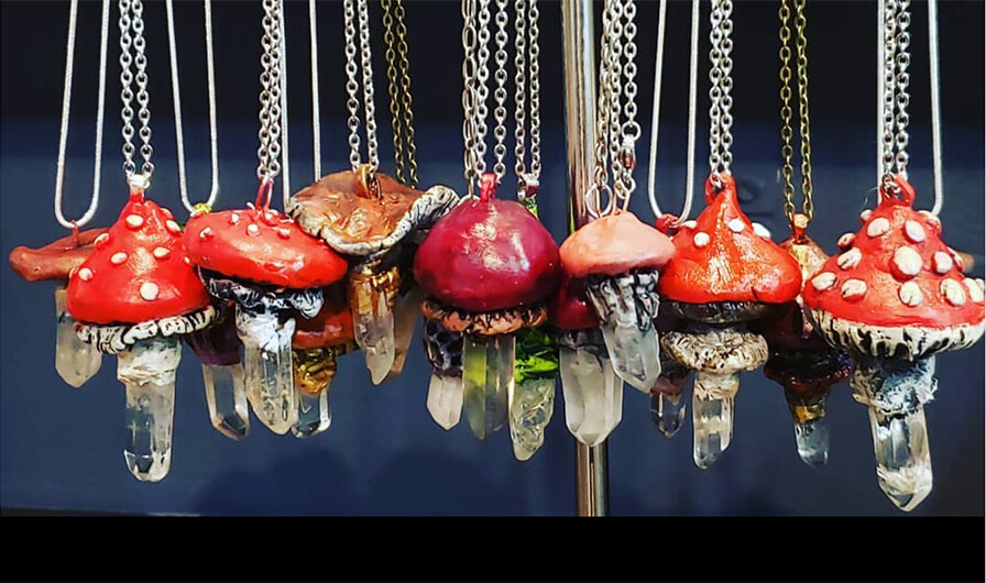 Custom Order Crystal Mushroom Necklace