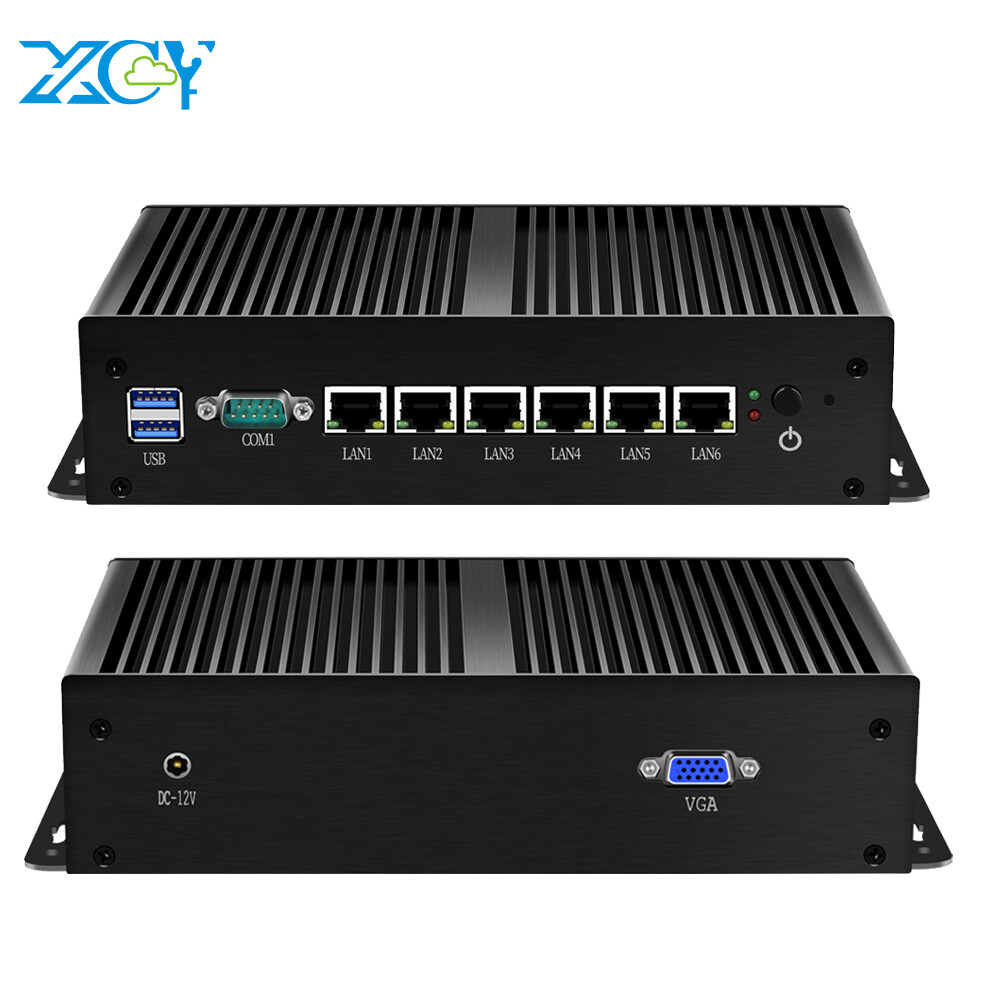 XCY Intel Core 4405U Mini PC 6 LAN Intel WGI211AT Gigabit NIC Firewall AES-NI Pfsense Linux Server 2*USB3.0 VGA RS232