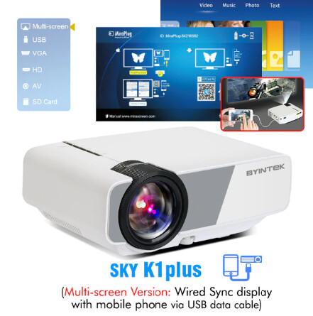 YINTEK Mini Projector K1plus, Portable Home Theater Beamer,LED Projector for Smartphone 1080P 3D 4K Cinema, local stock in 8 countries with free and fast shipping.