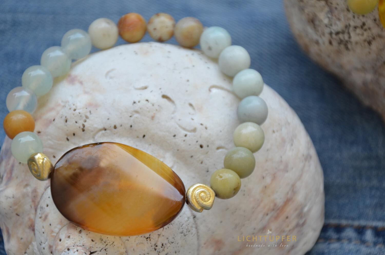 Elegantes Edelsteinarmband  Amazonit in Harmonie mit Gold