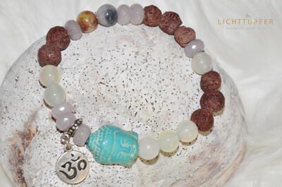 Lässiges Buddhaarmband in Jade Nuancen - Glücksbringer - Ein Armband für jeden Tag