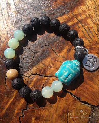 Lässiges Buddhaarmband - Glücksbringer - BlackLavaMix Ein Armband für jeden Tag