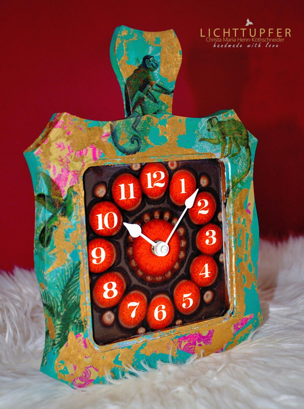 Serie: JANGAL Pink Monkey Clock Vintage 70iger Jahre Wanduhr