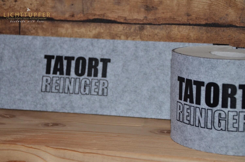 Banderole Tatort Reiniger  in grau mit Klettverschluss Banderole crime scene cleaner in grey with Velcro fastener