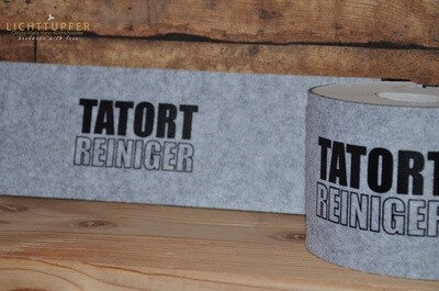 Banderole Tatort Reiniger  in grau mit Klettverschluss Banderole crime scene cleaner in grey with Velcro fastener