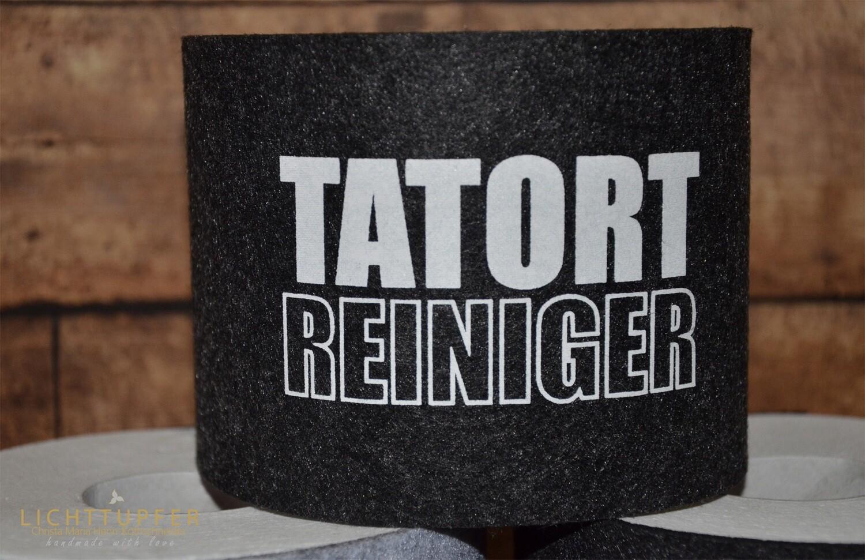Banderole Tatort Reiniger  in schwarz  mit Klettverschluss Banderole crime scene cleaner in black with Velcro fastener