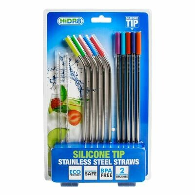 Silicone Tip Stainless Steel Straws 12pk