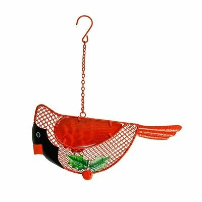 Winter Cardinal Wire Mesh Bird Feeder ne