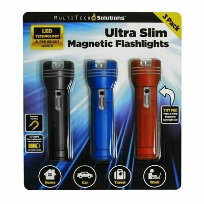 Ultra Slim Magnetic Flashlight 3pk NEW