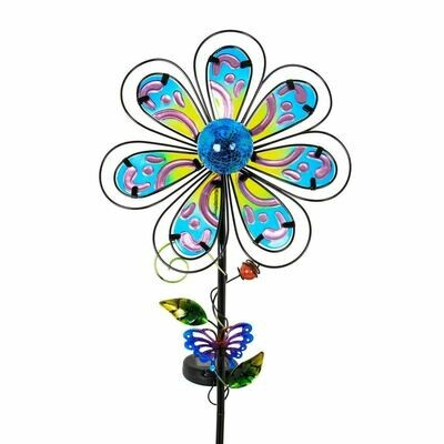 Fused Glass Paisley Flower Stake