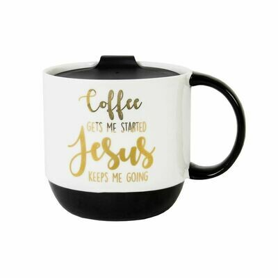 Coffee Gets Me Started Jesus Mug W/ Lid