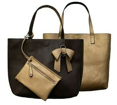 Nadia-Brown Reversible Tote