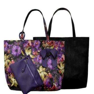 Nadia-Purple Floral Reversible Tote